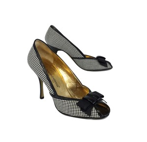 Dolce&Gabbana Black & Cream Tweed Peep Toe Heels Pumps