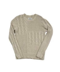 AllSaints Tan Cableknit Cotton Blend Sweater
