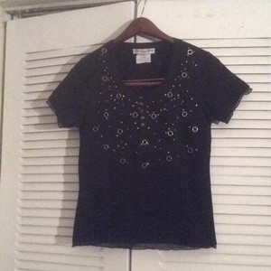 Dior T Shirt Black gold and silver