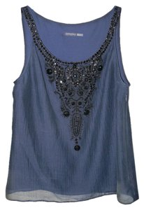 Magaschoni Beaded Navy Black Top Blue