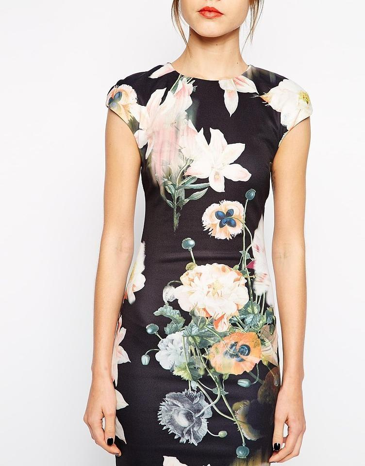 433a2b87ac886 Ted Baker Black Multi New Tags Floral Date Night Out Midi Tube Mid-length Cocktail  Dress Size 4 (S) - Tradesy