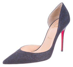 Christian Louboutin Metallic Pointed Toe Glitter Blue, Silver Pumps