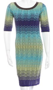 Missoni short dress Green, Blue, Black Knit Striped Chevron V-neck on Tradesy