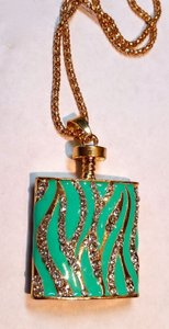 Betsey Johnson Betsey Johnson Perfume Bottle Pendant Necklace Green J2986