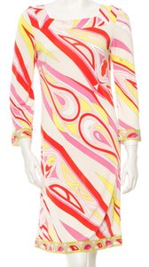 Emilio Pucci Longsleeve Print Gold Hardware Monogram Dress