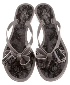 Valentino Gray Lace Print Bow Black, Grey Sandals