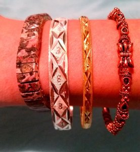 Other Copper Gold Silver Bangle 4 Pc Bracelet Set Stretch Jasper B1002