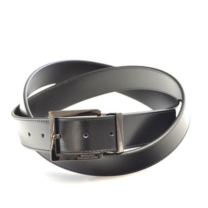 Versace Collection Versace Collection Men's Black Leather Silver Buckle Belt 175