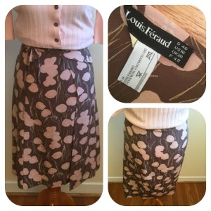 Louis Feraud Skirt Brown & Pink Wrap Skirt
