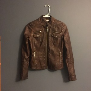 Faux lether jacket Brown Leather Jacket