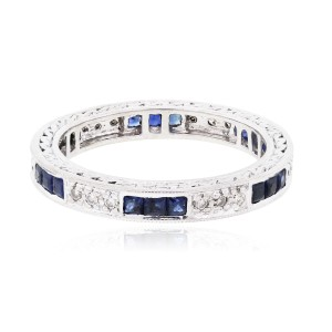 14k White Gold 0.18ctw Diamond and 0.40ctw Sapphire Eternity Band