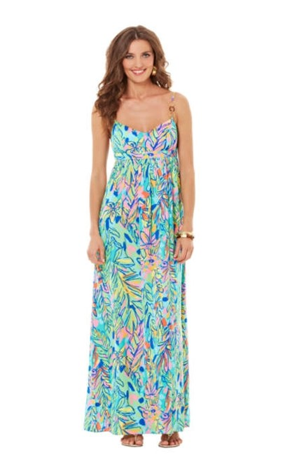 Item - Multicolor Joanna In Hot Spot Long Night Out Dress Size 6 (S)
