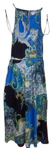 Blue Paisley, Yellow, Teal, Black Maxi Dress by Cache Maxi Open Detail Formal