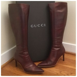 Gucci Burgundy Leather Boots
