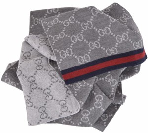 Gucci Gucci 325806 Wool Grey Reversible GG Guccissima Blue Red Web Scarf