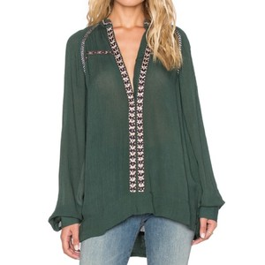Tularosa Wyatt Tunic Olive Blouse Button Down Shirt Green
