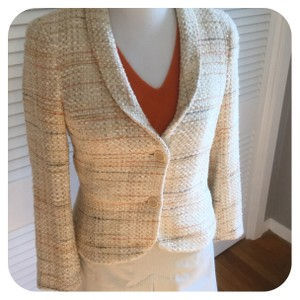 Theory Cream, Orange, Grey & Tan Tweed Blazer