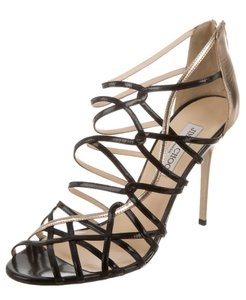 Jimmy Choo Cage Gladiator Patent Leather Black, Silver Sandals