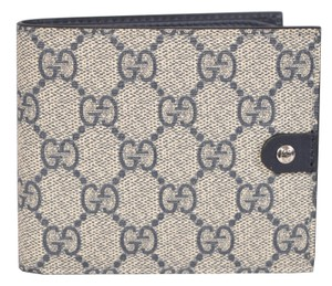 Gucci Gucci Men's 365477 Beige Supreme Canvas GG Guccissima Bifold Wallet