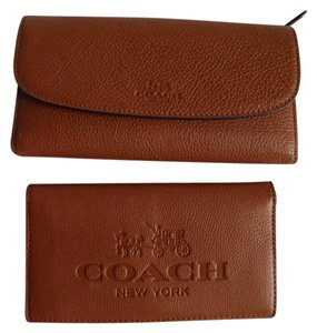 Coach New COACH PEBBLE LEATHER CHECKBOOK WALLET SADDLE F52715
