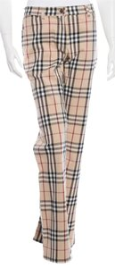 Burberry Nova Check Plaid Monogram Straight Pants Beige, Black, Red