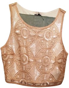 Express Crop Sequin Formal Crocheted Top Pink/White