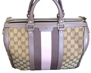 Gucci Gg Canvas Monogram Two-tone Satchel in Lilac, Pink