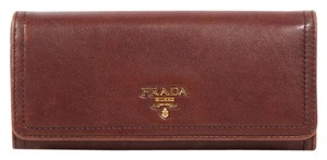 Prada Brown Leather Continental Wallet