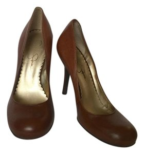 Jessica Simpson Leather High Heel Brown Pumps
