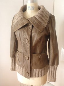 Mackage Knit Leather Buttons Tan/Taupe Leather Jacket
