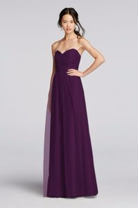 David's Bridal Plum Strapless Tulle Long Dress With Removable Belt Dress