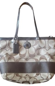 Coach Tote in Great gift for yourself! KhakI Mahogany signature striped handbag