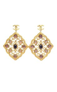 Chanel Chanel Purple & Hammered Gold Dangle Earrings