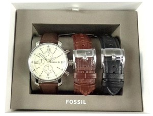 Fossil Fossil BQ2141SET Mens Chronograph Silver tone Watch 3 Changeable Bands