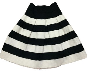 Anthropologie Ponte Anthro A-line Mini Skirt Black and White Stripe