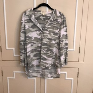 Cloth & Stone Button Down Shirt Camoflage with greens and white
