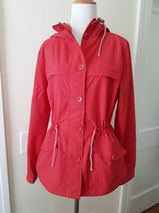 J.Crew Nylon Hooded Zip Front Bottons Down RED Jacket