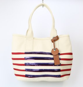 Marc Jacobs Marc By Patriotic Canvas Stripes Tote in Cream