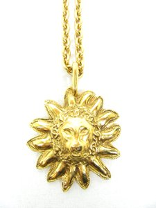 Chanel Vintage 80s Lion Head Gold Plated Necklace, Sautoir, 32