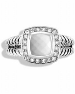 David Yurman DY Petite Albion White Agate Sterling silver ring With Diamonds