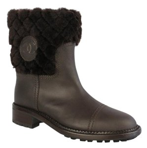 Chanel Shearling Fur Leather Combat Classic brown Boots