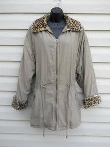 Basic Editions Micro Suede Animal Print Faux Fur Large Drawstring Waist Pea Coat