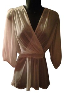 Express Sheer Sash Top Ivory