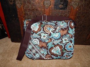 Vera Bradley Purse Teal Blue Brown Messenger Bag