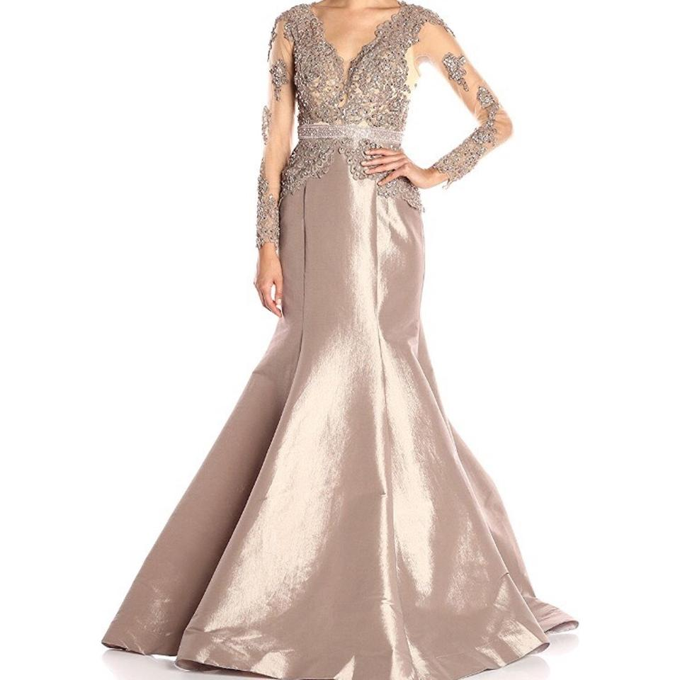 Mac Duggal Couture Taupe Satin and Lace Gown Long Formal Dress Size ...