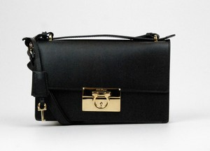 Salvatore Ferragamo Gold Hardware Top Handle Satchel in Black
