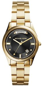 Michael Kors Nwt Colette Black Dial Gold-plated Watch Mk6070