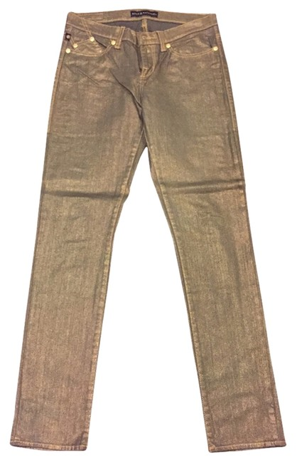 Item - Gold Shimmer Coated Berlin Skinny Jeans Size 32 (8, M)