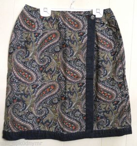 Liz Claiborne Paisley Denim Wrap Mini Skirt Blue
