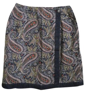 5ab7748c44 Liz Claiborne Paisley Denim Wrap Mini Cotton Mini Skirt Blue